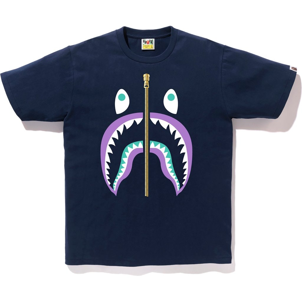 BAPE Colors Gold Zip Shark Tee (SS19) Navy