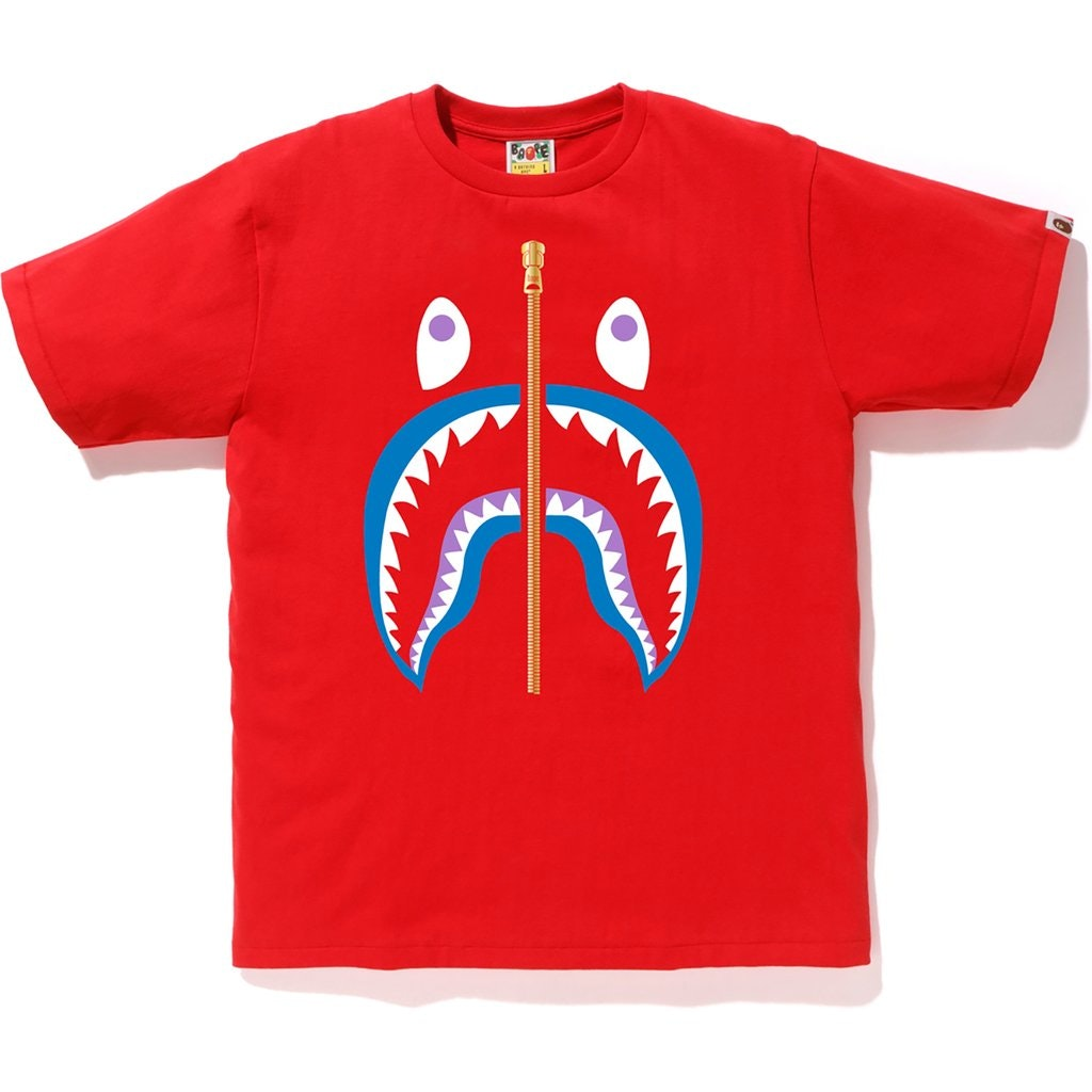 BAPE Colors Gold Zip Shark Tee (SS19) Red
