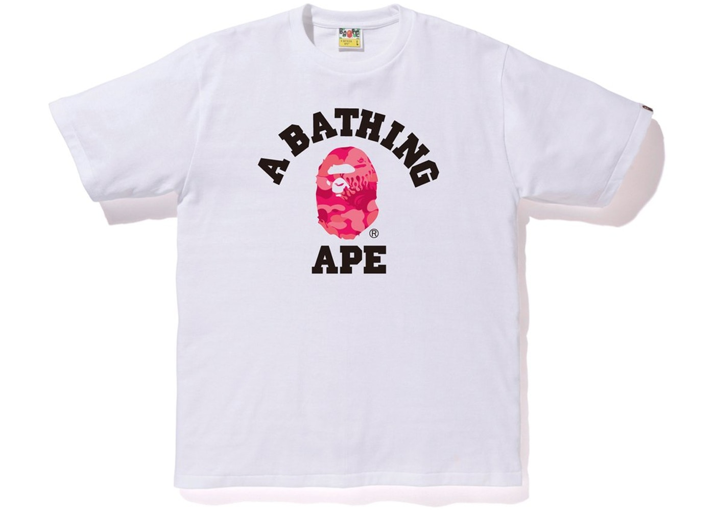 c28f73ca3 BAPE Fire Camo College Tee White/Pink - SS19