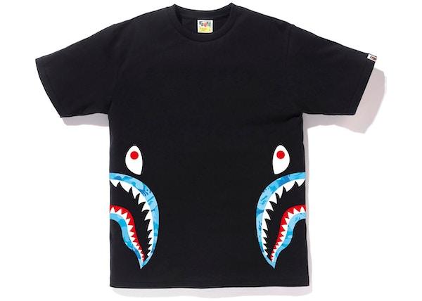 99a24084834 BAPE Fire Camo Side Shark Tee Black Blue