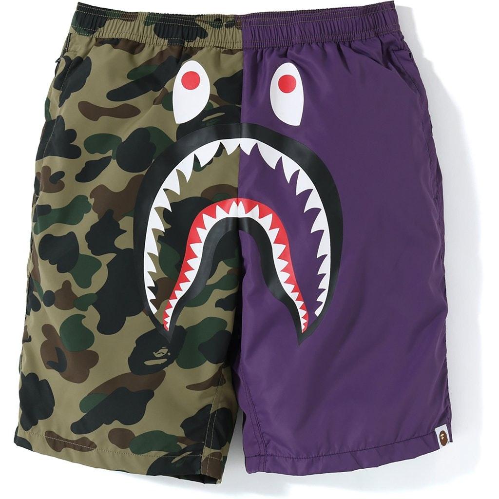 BAPE Half 1st Camo Shark Beach Shorts Purple/Green