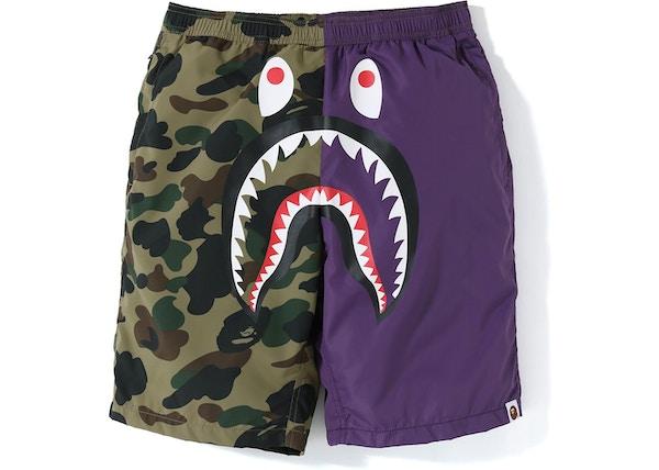 d41c28ec0ab6 BAPE Half 1st Camo Shark Beach Shorts Purple Green