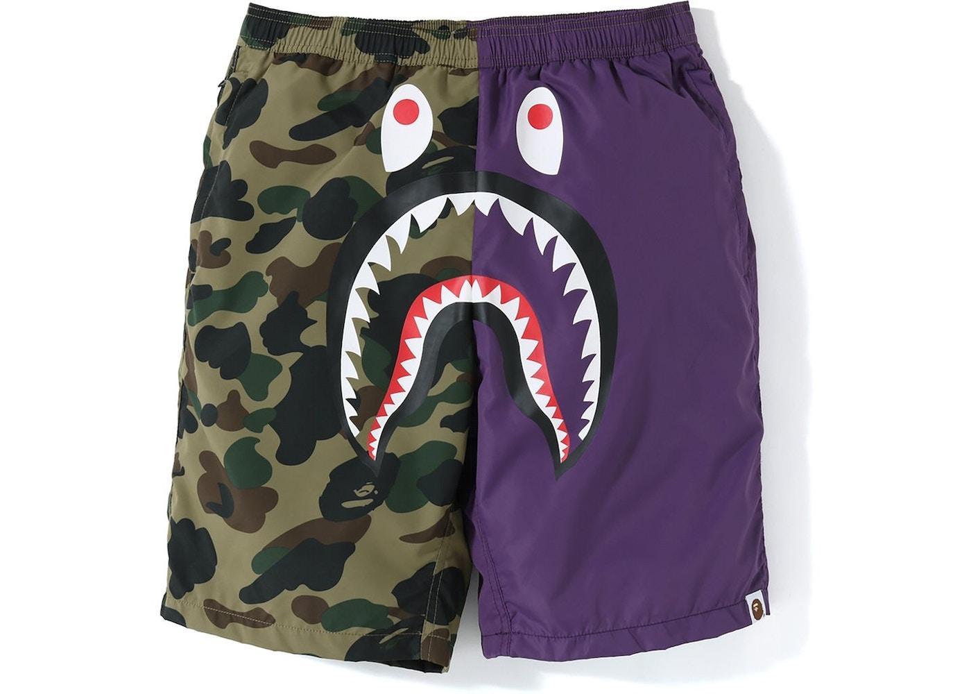 791ace00e936 BAPE Half 1st Camo Shark Beach Shorts Purple Green - SS19