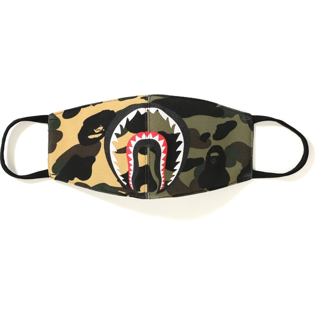 BAPE Half Camo Shark Mask Yellow/Green