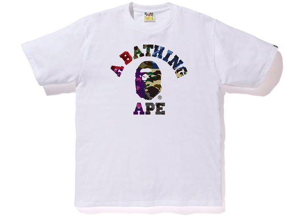 ae48ac02f BAPE Mix Camo College Tee White