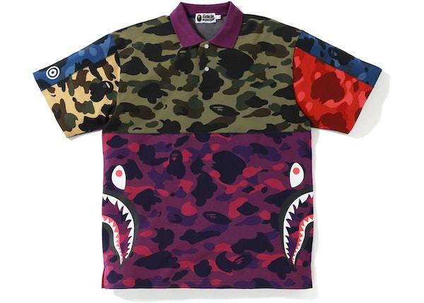 c184f23a0 TOP. BAPE Mix Camo Relaxed Side Shark Polo Multi