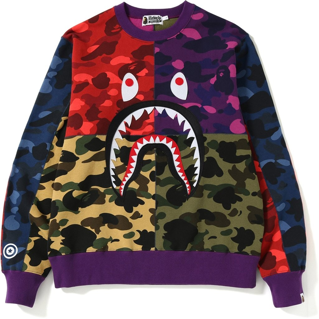 BAPE Mix Camo Shark Crazy Sweatshirt Multi