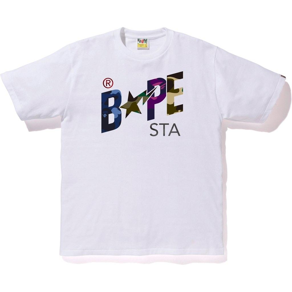 BAPE Mixed Camo Bapesta Tee White