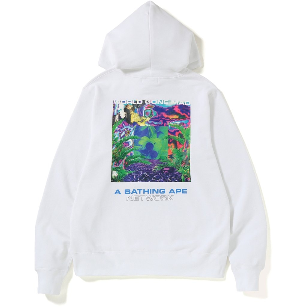 BAPE Network Wide Pullover Hoodie White