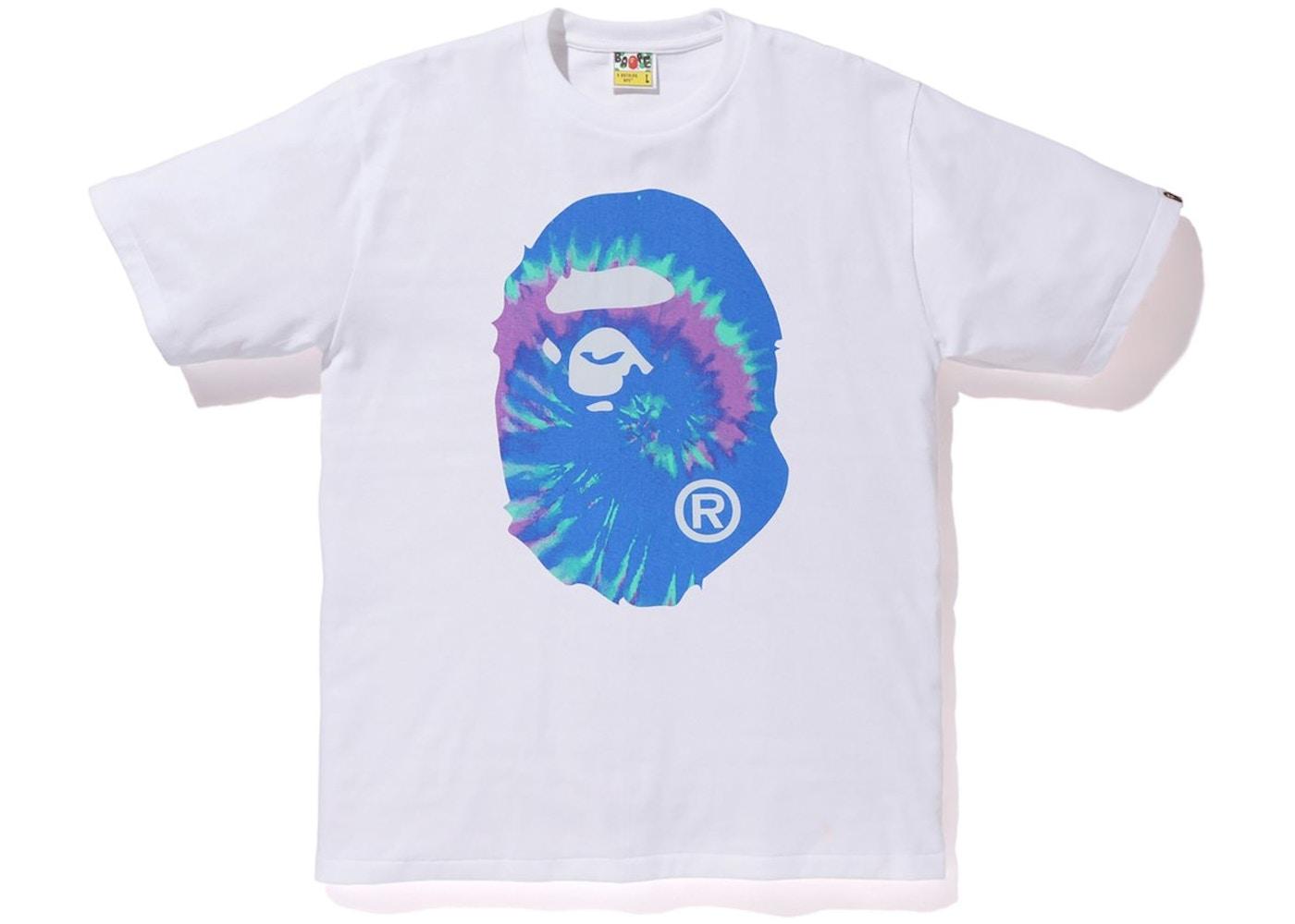 Bape Pigment Tie Dye Big Ape Head Tee White/Blue by Stock X