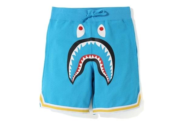BAPE Shark Basketball Sweat Shorts Sax
