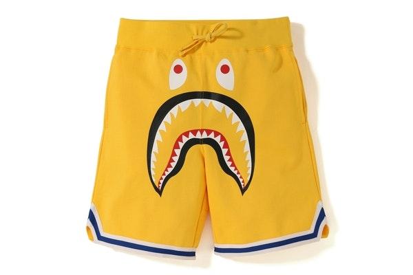 BAPE Shark Basketball Sweat Shorts Yellow
