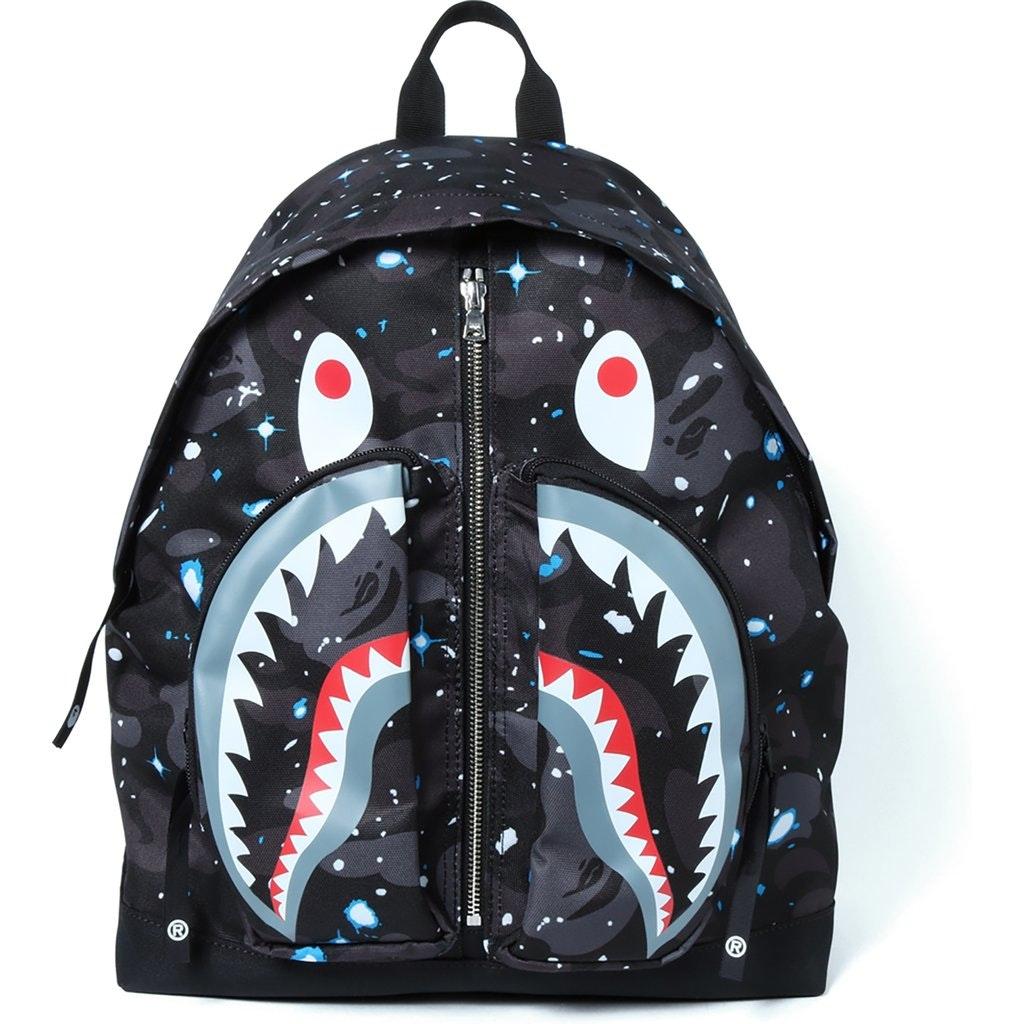 BAPE Space Camo Shark Day Pack Black