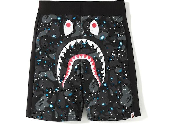 75953a318427a BAPE Space Camo Shark Sweat Shorts Black