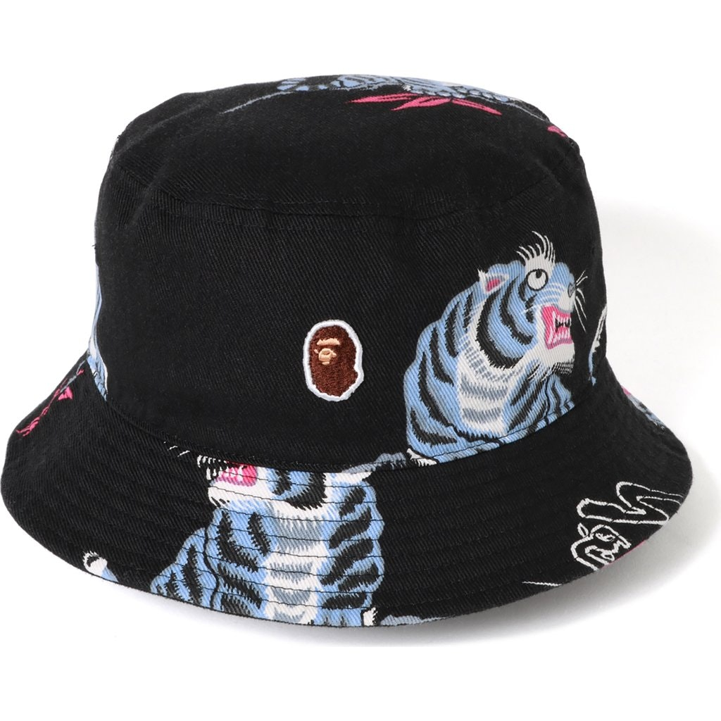 BAPE Tiger Pattern Bucket Hat Black