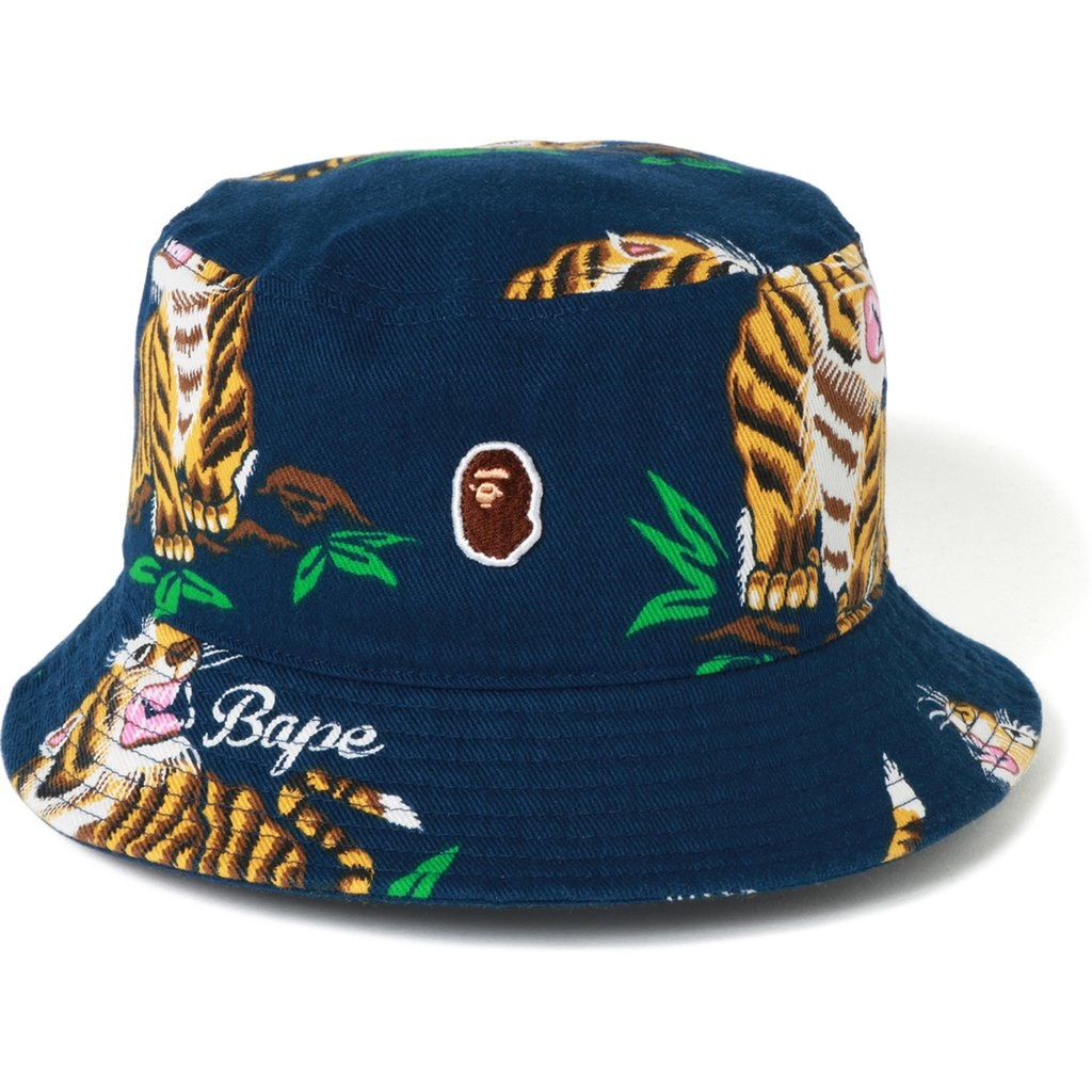 BAPE Tiger Pattern Bucket Hat Navy