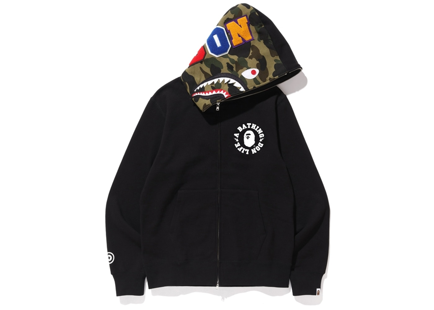 bape-x-big-sean-shark-full-zip-hoodie-black by stockx