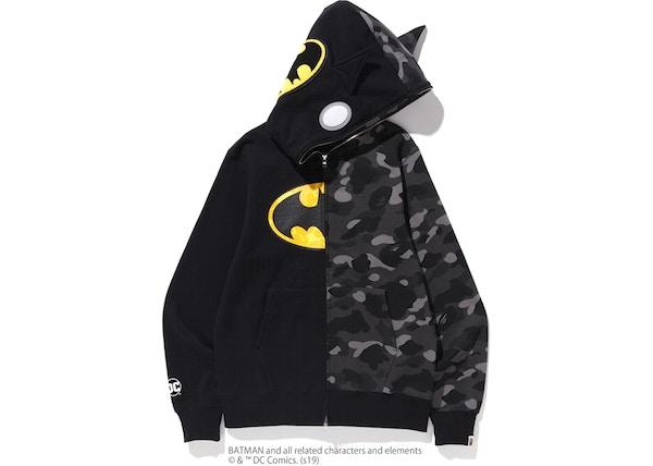 32b69cd2c752 BAPE x DC Batman Split Color Camo Full Zip Hoodie  2 Black Black