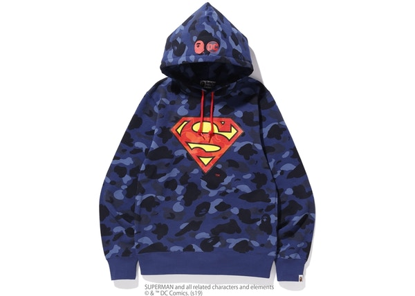 7ab1dd1ebbb6 BAPE x DC Superman Color Camo Pullover Hoodie Navy