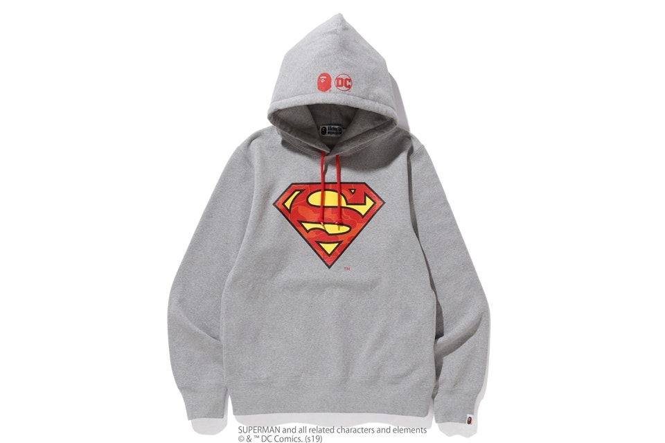 BAPE x DC Superman Pullover Hoodie Grey