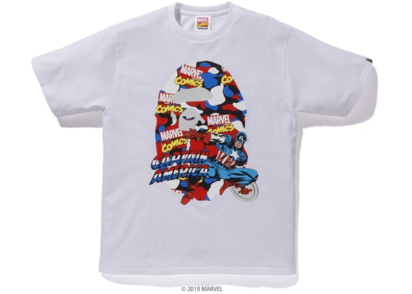 cd74d8c3b925 BAPE x Marvel Camo Captain America Tee White