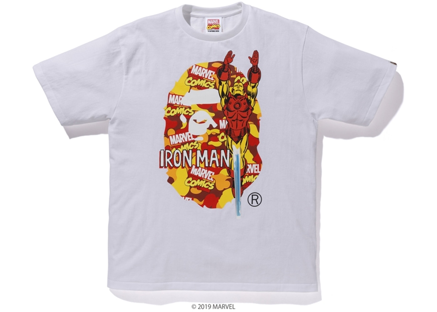 6e65a13a4 BAPE x Marvel Camo Iron Man Tee White - SS19