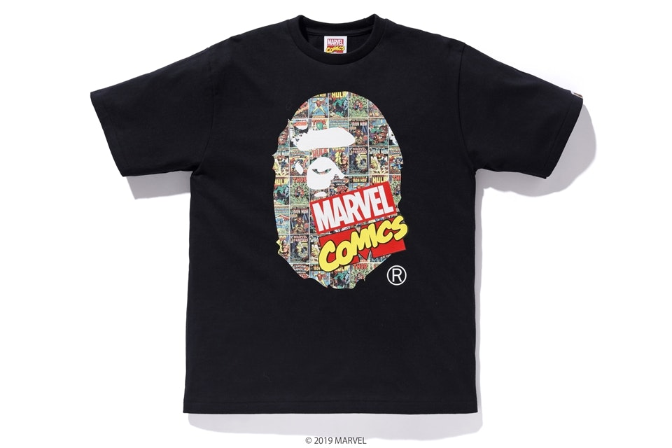 BAPE x Marvel Comics Ape Head Tee Black