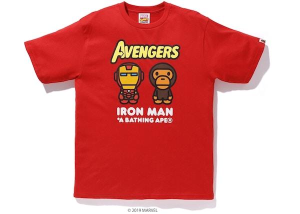 57e66988de7 BAPE x Marvel Milo Iron Man Tee Red