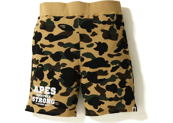 3221797f BAPE 1st Camo ATS Sweat Shorts Yellow