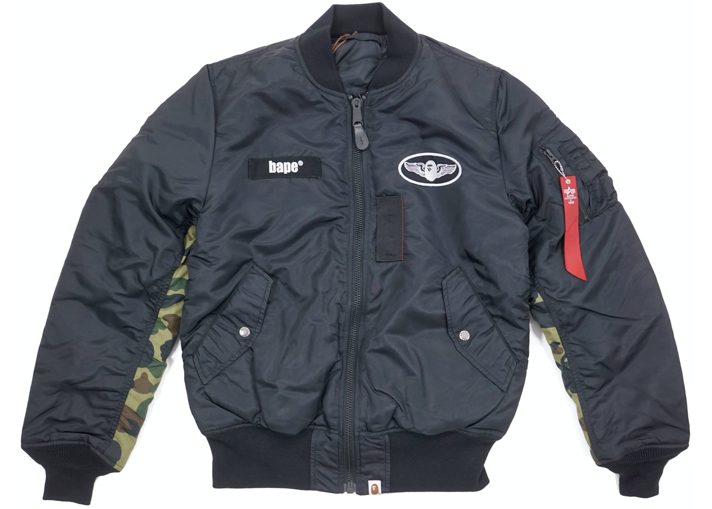 3a697f2708d5 BAPE 1st Camo Accent Reversible MA1 Bomber Flight Jacket Black Green -