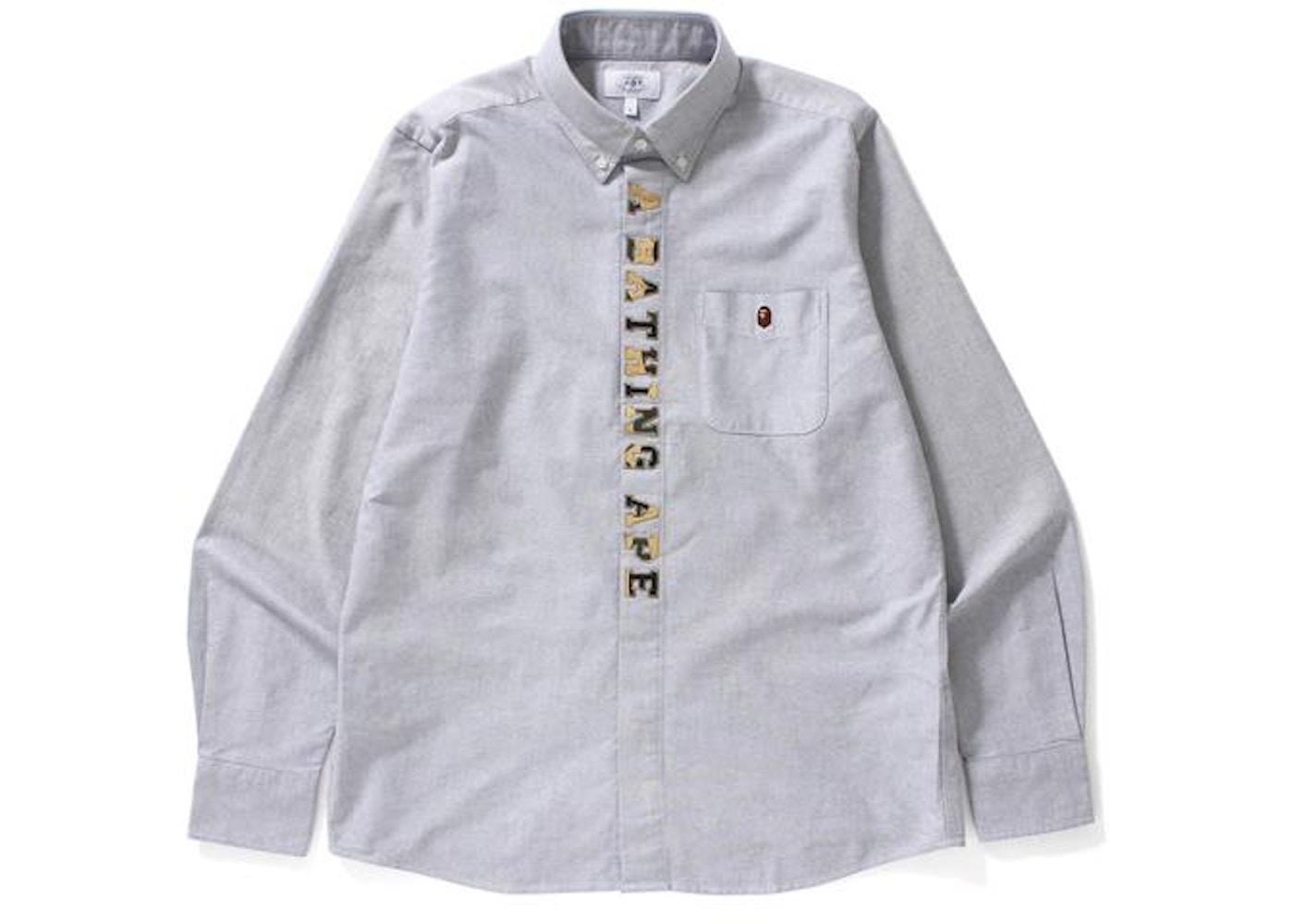 b2483a18 BAPE 1st Camo Applique Oxford Bd Shirt Shirt Gray/Yellow -