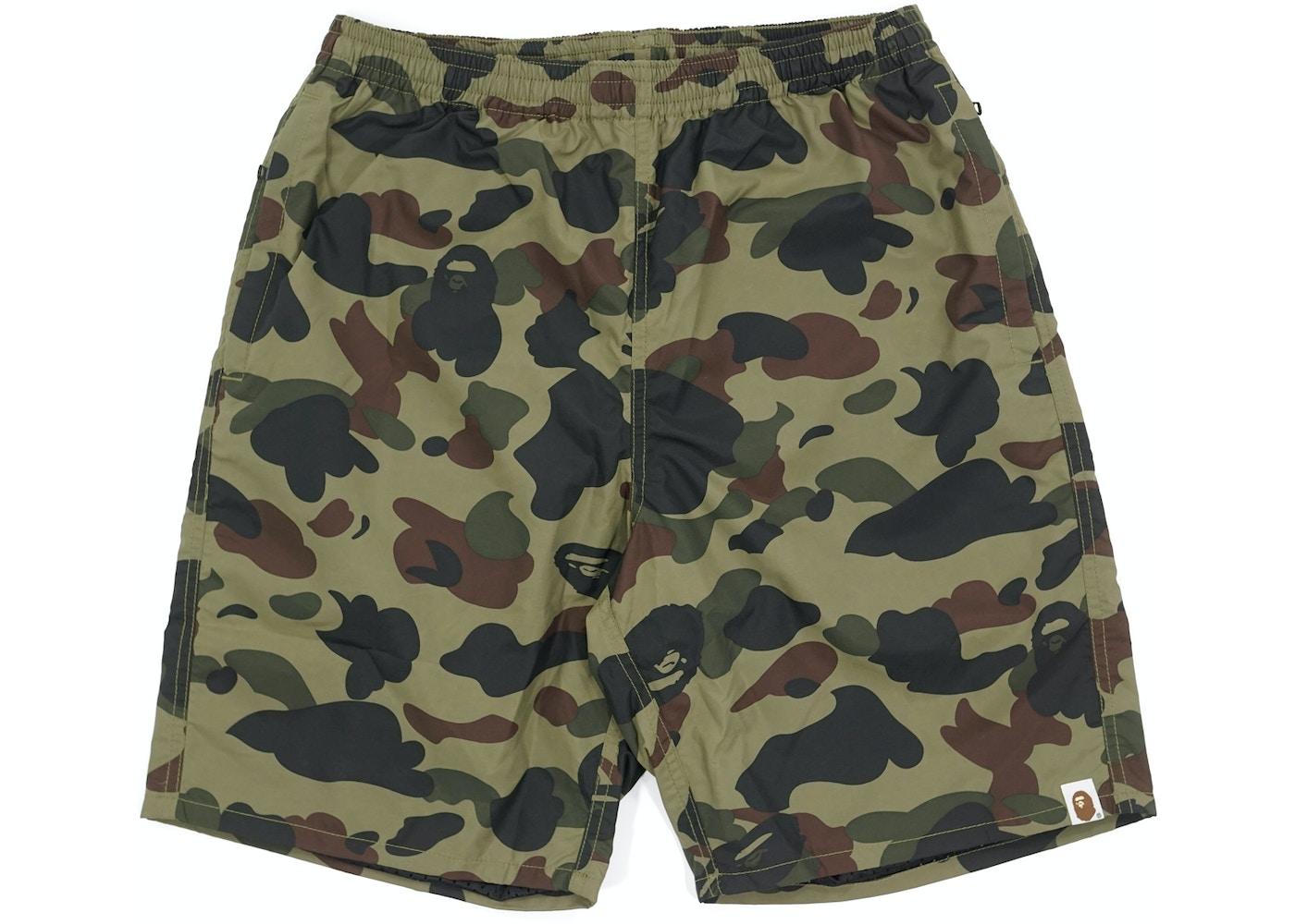 22edde69f6 BAPE 1st Camo Beach Shorts Green -