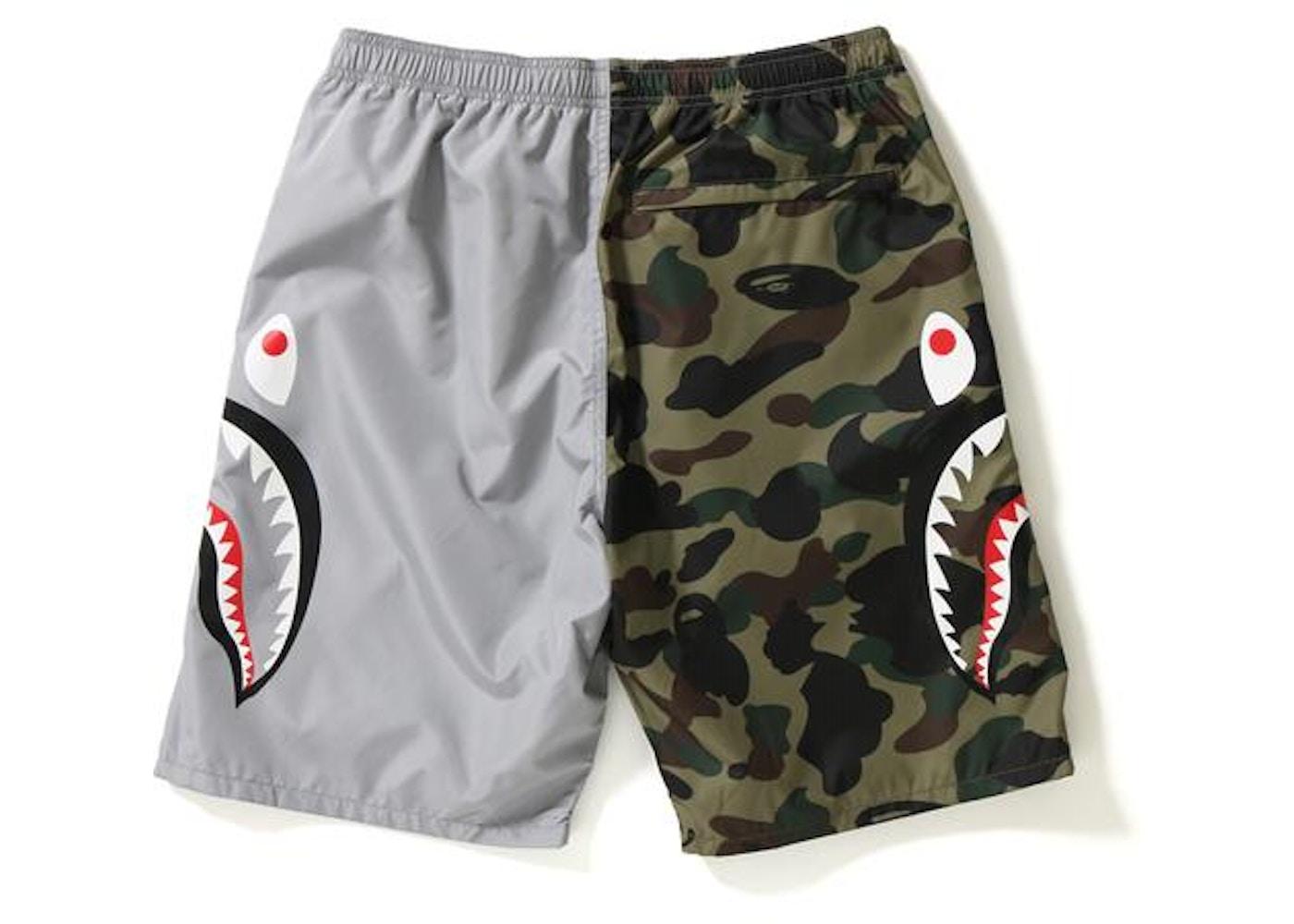 0a3f88fe347d BAPE 1st Camo Half Shark Beach Shorts Gray Green - SS18