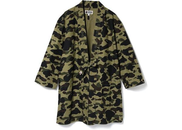 5fa39ff1 BAPE 1st Camo Kimono Long Shirt Green - SS18