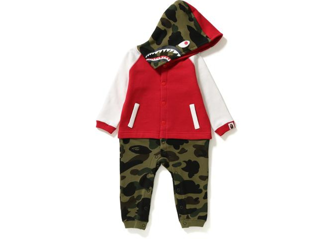 bf02aeaf9cd BAPE 1st Camo Milo Shark Hoodie Coverall Kb Kb (Kids) Red/Green -