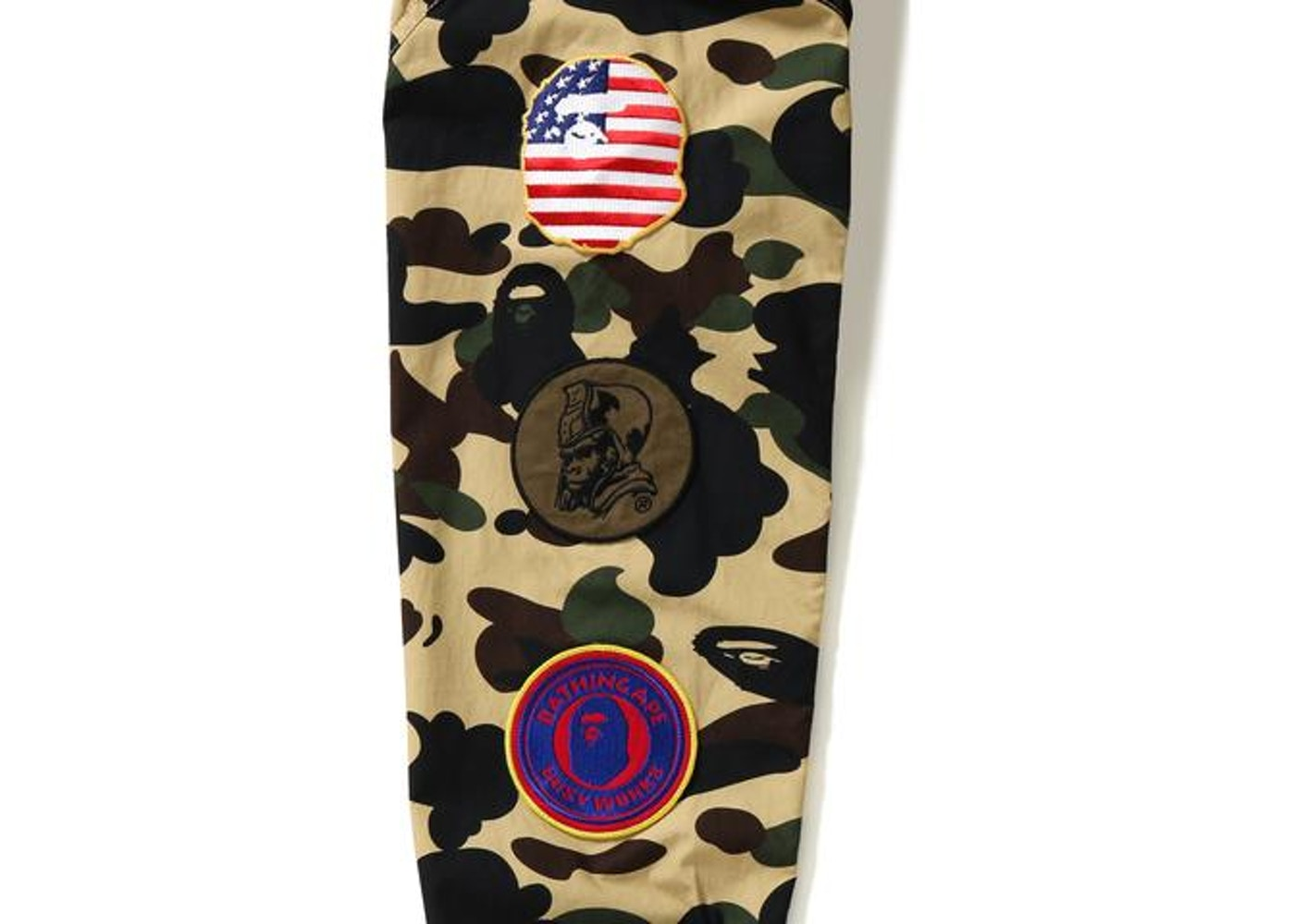 efce1b76 BAPE 1st Camo Multicolor Patch Military Shirt Shirt Yellow -