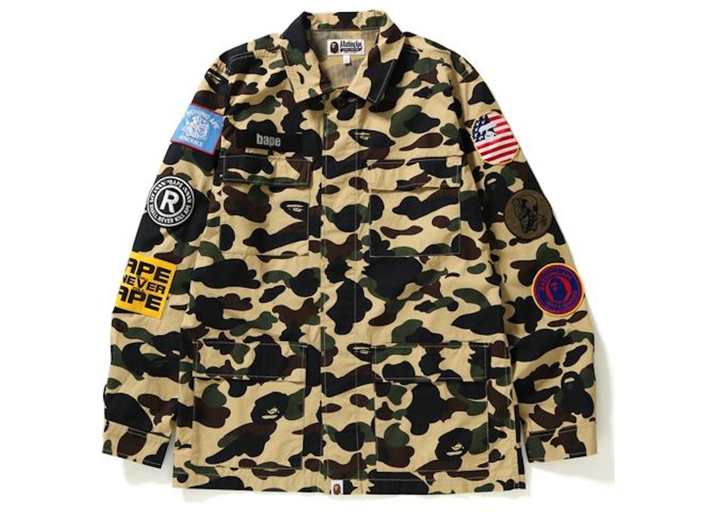 0ca96edb BAPE 1st Camo Multicolor Patch Military Shirt Shirt Yellow. 1st Camo  Multicolor Patch Military Shirt