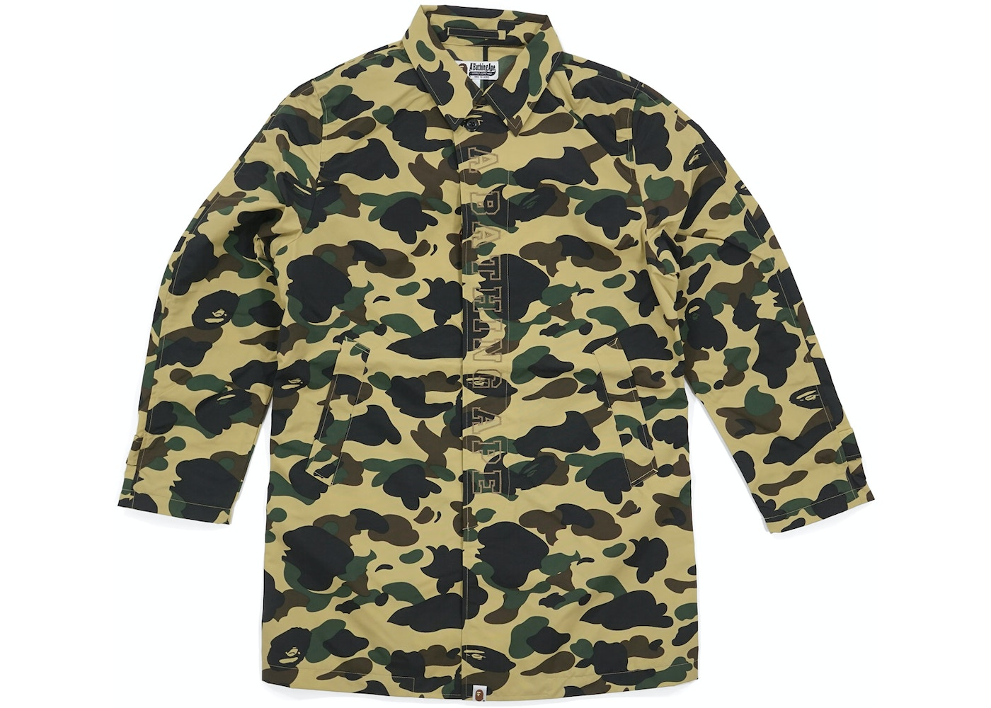 bape 1st camo rain trench coat yellow