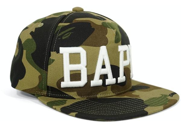 1e560a8340a Bape 1st Camo Raised BAPE Snapback Hat Green