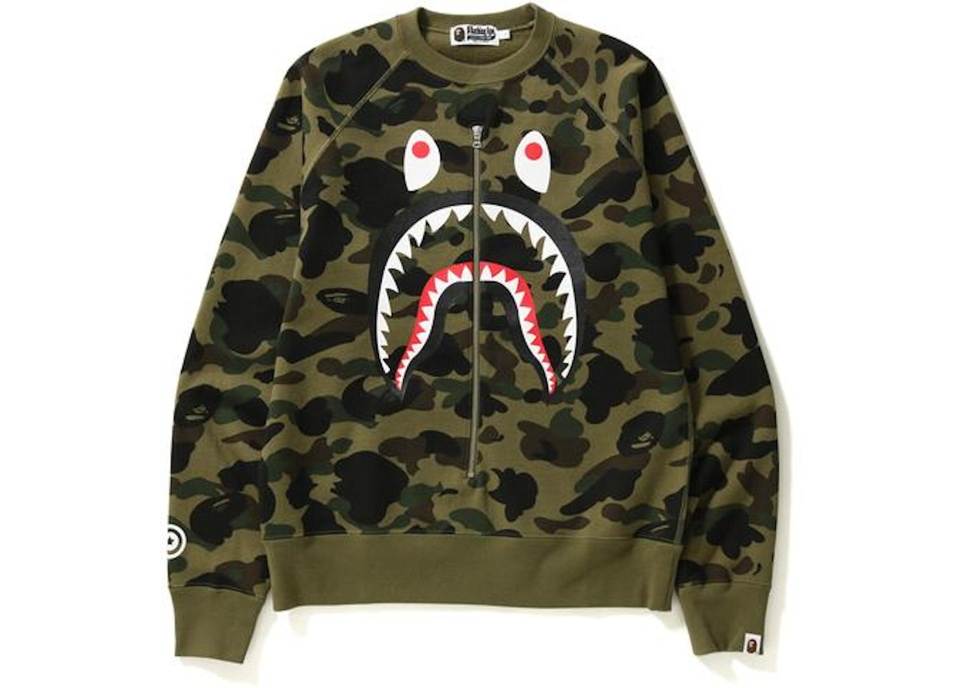 8d76c5ce BAPE 1st Camo Metal Zip Shark Crewneck Green -