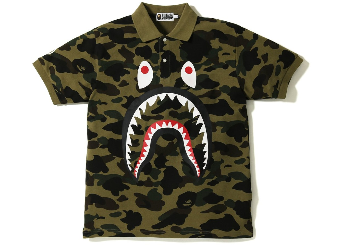 63b2f720 Sell. or Ask. Size S. View All Bids. BAPE 1st Camo Shark Face Polo Green