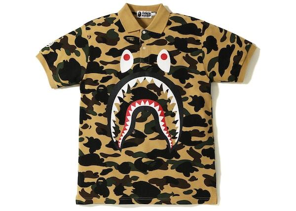 f8b9fb7a BAPE 1st Camo Shark Face Polo Yellow - SS18
