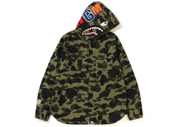 b94f766879389 BAPE 1st Camo Shark Hoodie Zip Up Shirt Green