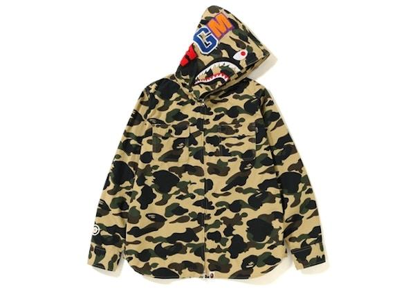 4ca9b9d0 BAPE 1st Camo Shark Hoodie Zip Up Shirt Yellow