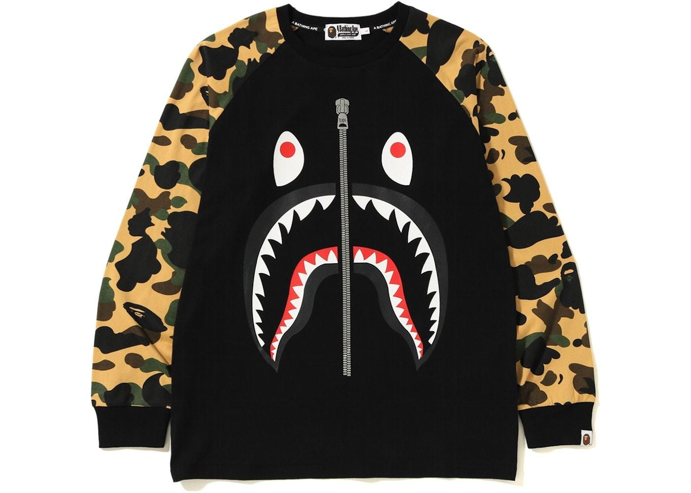 3046a9a35 BAPE 1st Camo Shark LS Tee Black/Yellow - FW18