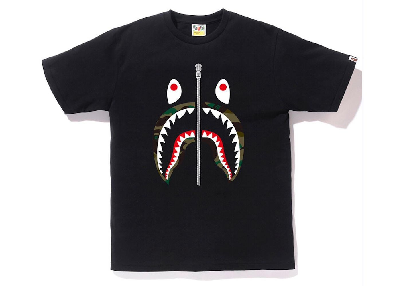 c2bd5acc BAPE 1st Camo Shark Tee Tee Black/Green - SS18