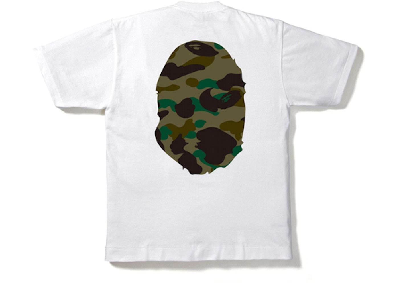 e50e469bb29f BAPE 1st Camo Big Ape Head Tee White Green -