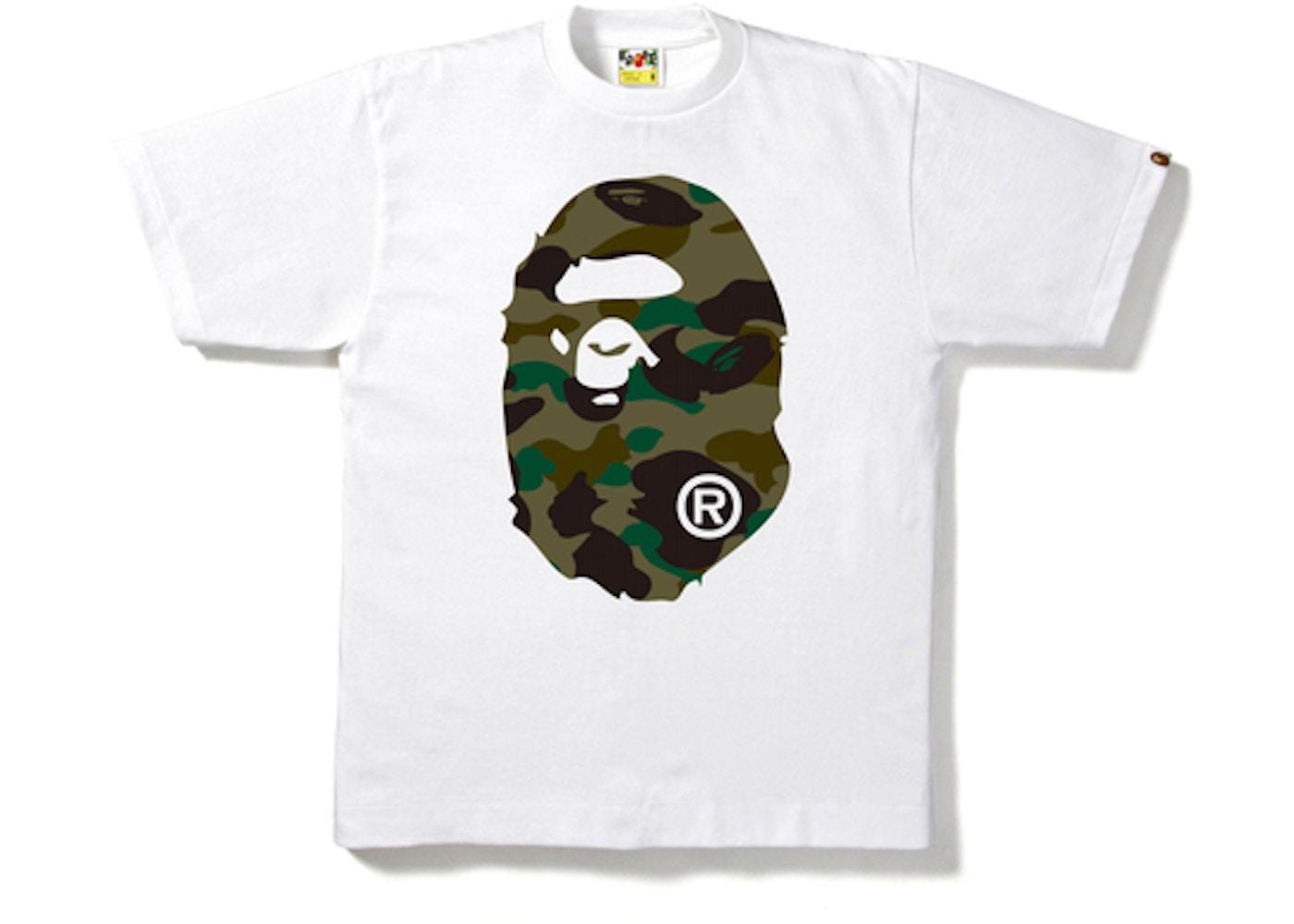 824682e01804 BAPE 1st Camo Big Ape Head Tee White Green -