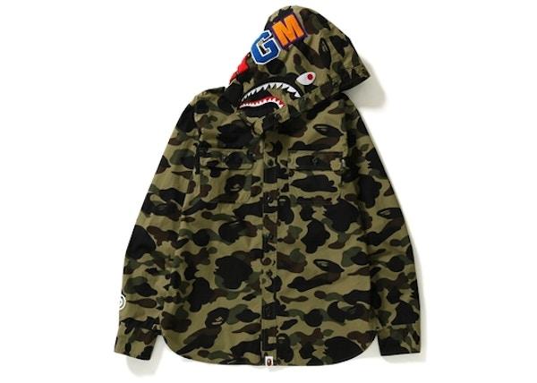 a52ec85afb249 BAPE 1st Camo Shark Hoodie Shirt Green camo