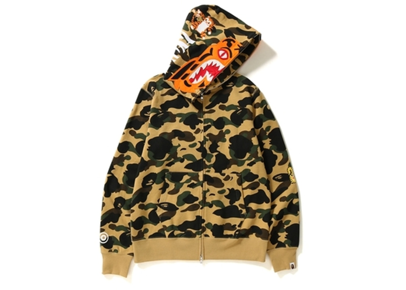 sale retailer 2bd6e 3eed4 BAPE 1st Camo Tiger Full Zip Hoodie Yellow
